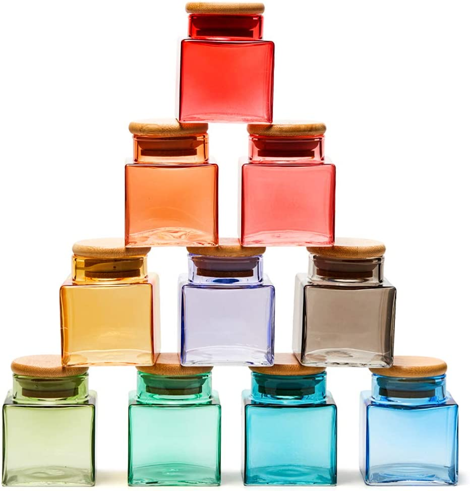 EZOWare 10 Bottles Colorful Glass Jar Set, Small Air Tight Decorative Canister Storage Containers with Natural Bamboo Lids for Kitchen Spices, Bathroom, Decor, Party Favors (100ml)