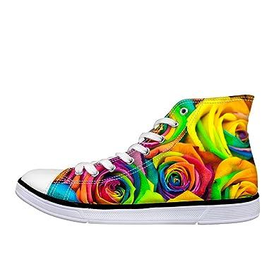 c19003d465a17 Amazon.com   ArtistMixWay Unisex High Top Women Men's Rainbow Rose ...