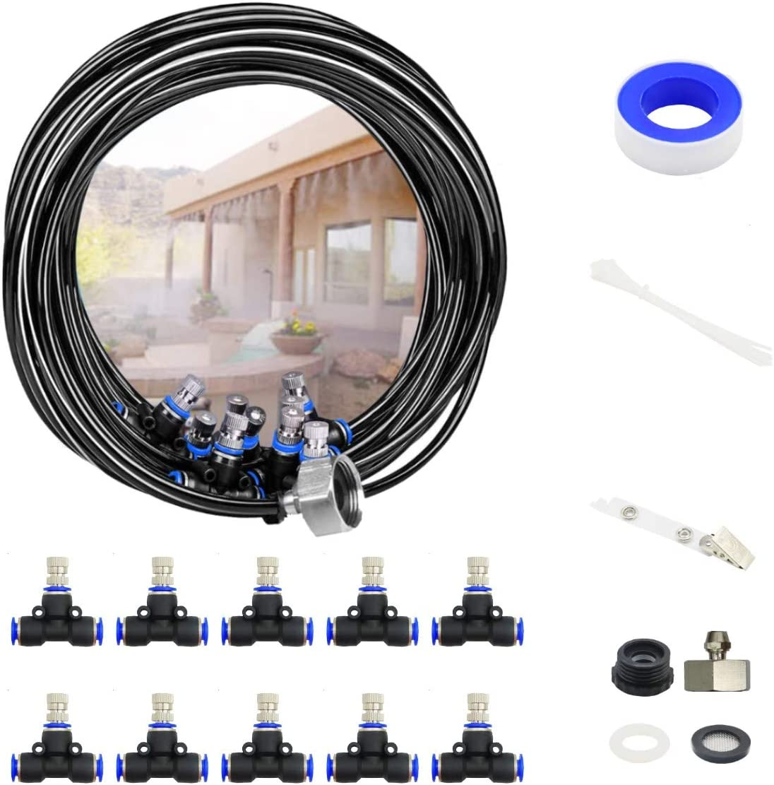 AmazeFan Misting Cooling System, Outdoor Water Mist Kit, 26.3' (8M) Misting Line + 11 Mist Nozzles + Adapter (3/4