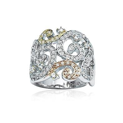 ae0ba1de9 Tri-Color Sterling Silver Cubic Zirconia Filigree Fashion Statement Ring,  Size 6