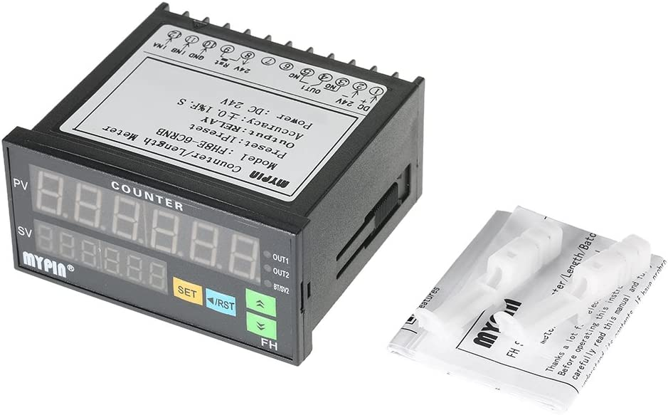 Elenxs MYPIN FH8E-6CRNB Multi-Functional Preset 6 Digital Counter Intelligent Length Counter,Multi-Functional Counter,Preset 6 Batch Meter 24V DC Length Count Meter Relay Output