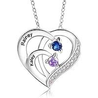 Personalizada Collar Plata 925 Colgante de con Corazón Collar con Nombres Grabados Madre e Hija Collar Regalo para Mujer…