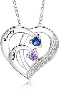 Personalizada Collar Plata 925 Colgante de con Corazón Collar con Nombres Grabados Madre e Hija Collar Regalo para Mujer Día de la Madre San Valentín Navidad