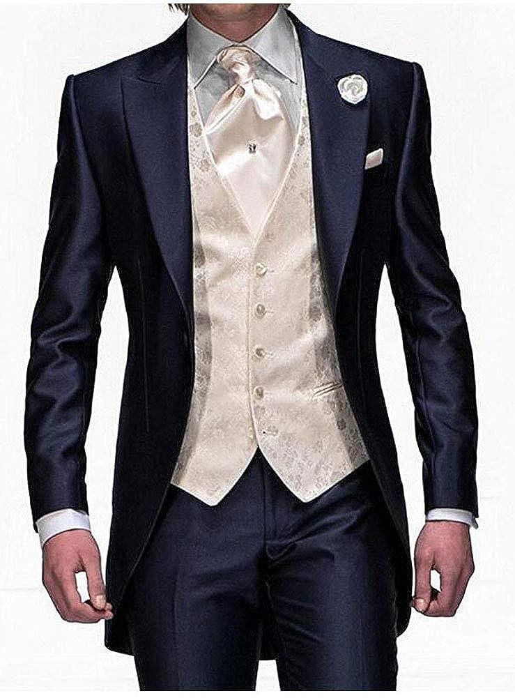 4cccb64768e Men's Navy Blue Groom Tuxedos 3 Pieces Tailcoat Wedding Suits Long Men Suit  at Amazon Men's Clothing store: