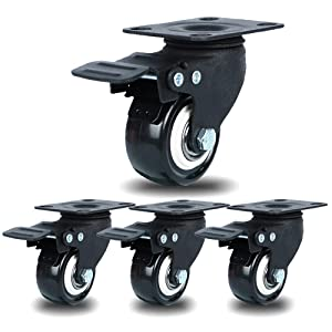 """2"""" Swivel Caster wheels with Safety Dual Locking, No Noise Polyurethane (PU) Wheels, Heavy Duty Plate Casters With Brake Total Capacity 600LBS (Pack of 4)"""