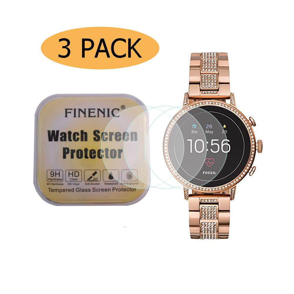 FINENIC 【3 Pack】 Compatible for Fossil Women's Gen 4 Q Venture HR Smartwatch Tempered Glass Screen Protector, 2.5D Edges 9 Hardness HD Anti-Scratch Bubble-Free [Lifetime Replacement Warranty]