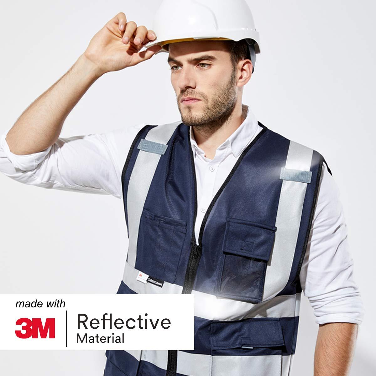 100/% cotone Salzmann 3M gilet multi-tasche da lavoro ad alta visibilit/á realizzato con nastro riflettente 3M
