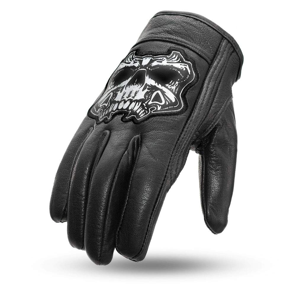 First Manufacturing Men's Light Lined Cruiser Motorcyle Leather Gloves With Reflective Skull (Black, Large) by First Mfg Co