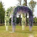 14-Pack-36-FeetPiece-Artificial-Silk-Wisteria-Vine-Ratta-Hanging-Flowers-Party-Wedding-Decor-Purple
