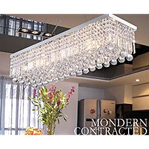 "CRYSTOP Rectangle Crystal Chandeliers Dining Room Modern Ceiling Light Fixtures Hanging Chandelier Pendant Light Living Room Beautiful Fixture Polished Chrome Finish L31.5"" x W9.8"" x H8.9"""