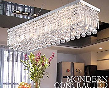 CRYSTOP Clear K9 Crystal Chandelier Dining Room Light Fixtures Polished Chrome Finish Modern Rectangle Chandeliers L31