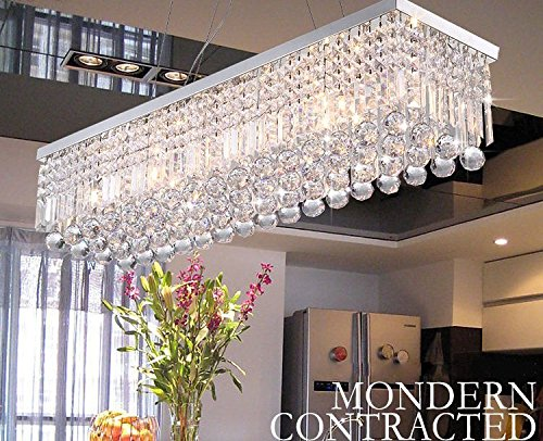 CRYSTOP Rectangle Crystal Chandeliers Dining Room Modern Ceiling Light Fixtures Polished Chrome Finish L315