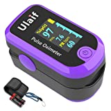 Pulse Oximeter Fingertip, Dual Color OLED Blood Oxygen Saturation Monitor for Pulse Rate and SpO2 Level, Suitable for Home, Exercise and Travel Use, Include Lanyard and Batteries (Purple)