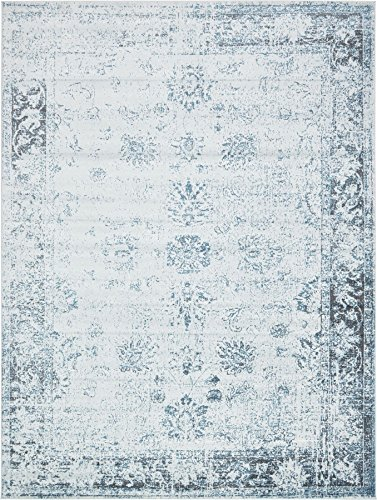 Light Blue 8' 11 x 12' FT Canterbury Rug Modern Traditional Vintage Inspired Overdyed Area Rugs