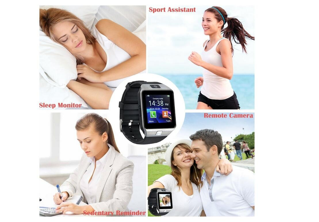 Bluetooth Smart Watch DOROIM Stainless Steel Strap, Camera, Call SMS Reminder, Sleep Monitor, Pedometer, Support SIM TF Card for Android iPhone Men Women Boys Girls (G12-SILVER)