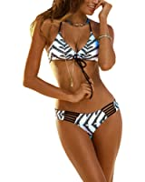 DELEY Mujere Retro Floral Impresión Halterneck Brasileño Triángulo Bikini Trajes De Baño