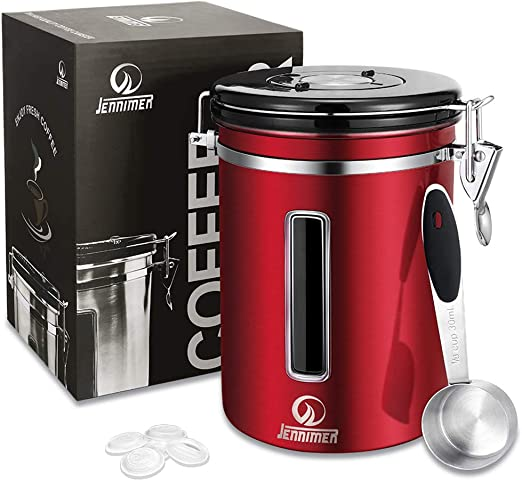 JENNIMER Coffee Container Airtight Stainless Steel Large with Transparent Window Canister Fresher Beans and Grounds for Longer Canister with Date Tracker, CO2-Release Valve and Measuring Scoop (Red)