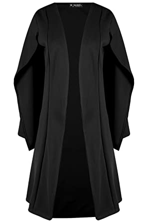 85aacdc9b777f1 Fashion Star Oops Outlet Womens Sleeveless Longline Midi Len Cape Shawl  Collared Open Placket Blazer Oversized Coat Top  Amazon.co.uk  Clothing
