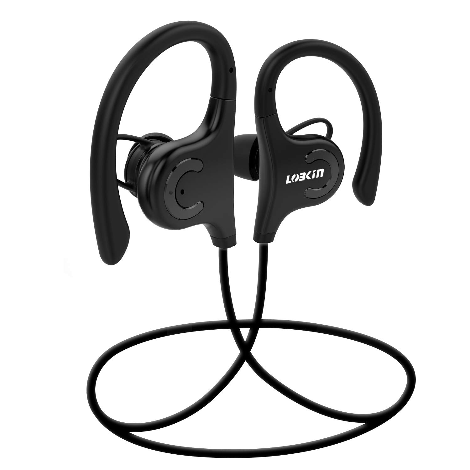 Lobkin Bluetooth earphones,Sport Stereo Headset with mic,Bluetooth headphones in ear, Noise Cancelling Neckband IPX5 Sweatproof Earphones -Black (Black)