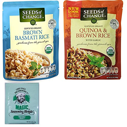 Seeds of Change Organic Brown Rice Combo Pack. Brown Basmati and Quinoa with Brown Rice Varieties. Easy One-Stop Shopping for Healthy Family Dinners. Includes Free Sample of Chef Paul Magic Seasoning.