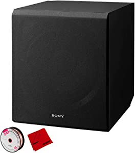 Sony 115 W 10 inch Home Theater Active Subwoofer Bundle with Monoprice Select Series 16 AWG Speaker Wire 100ft and Deco Gear 6 x 6 inch Microfiber Cleaning Cloth
