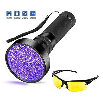 Vansky - Linterna ultravioleta con luz ultravioleta de color negro, 51 LED, para perro, orina de gato, ...