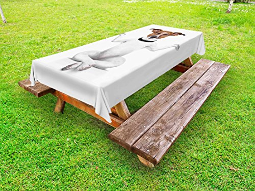 Lunarable Dog Lover Outdoor Tablecloth, Yoga Dog Sitting Relaxed with Closed Eyes Meditation Lifestyle Fitness Joy Comic, Decorative Washable Picnic Table Cloth, 58 X 104 inches, White Brown by Lunarable