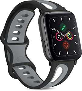 Vancle Silicone Bands Compatible with Apple Watch Band 38mm 40mm 42mm 44mm, Soft Breathable Silicone Replacement Band for iWatch Series 6 5 4 3 2 1 SE (Black/Gray, 42mm/44mm M/L)