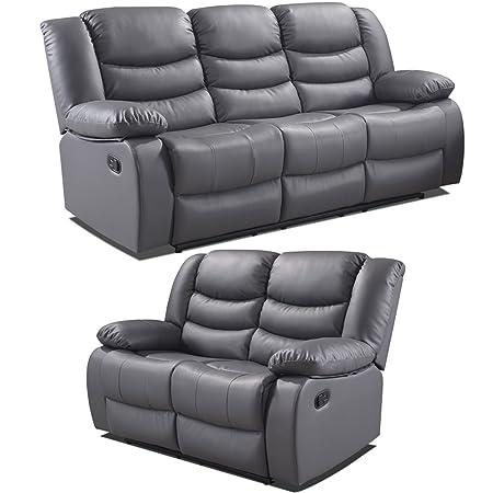Belfast Grey Leather Reclining Sofa Range (All combinations ...