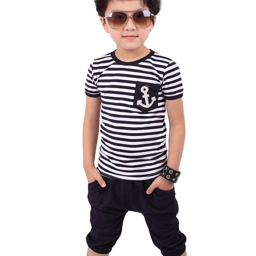 Ularma Junge T-Shirt + Hose Sommer Anzug Kinder Baumwolle Gestreift Marine T-shirt und Hose