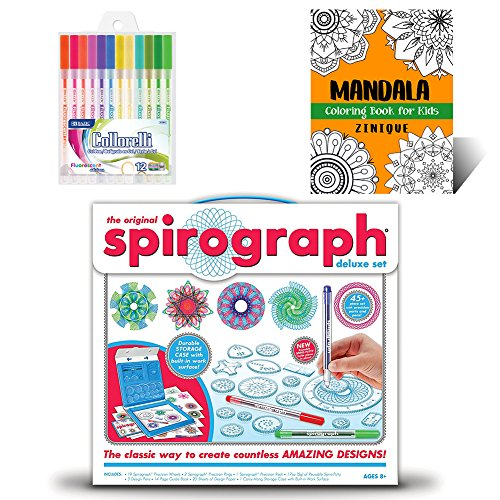 Spirograph Set Deluxe Kit for Kids - Includes Spirograph Deluxe Design Set, Multicolored Gel Pens, And Mandala Coloring Book for Kids - Ideal Creativity Art Set for Promoting Development in Kids]()
