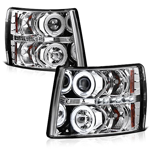 [For 2007-2013 Chevy Silverado 1500 2500HD 3500HD] CCFL Halo Ring Chrome Projector Headlight Headlamp Assembly, Driver & Passenger ()