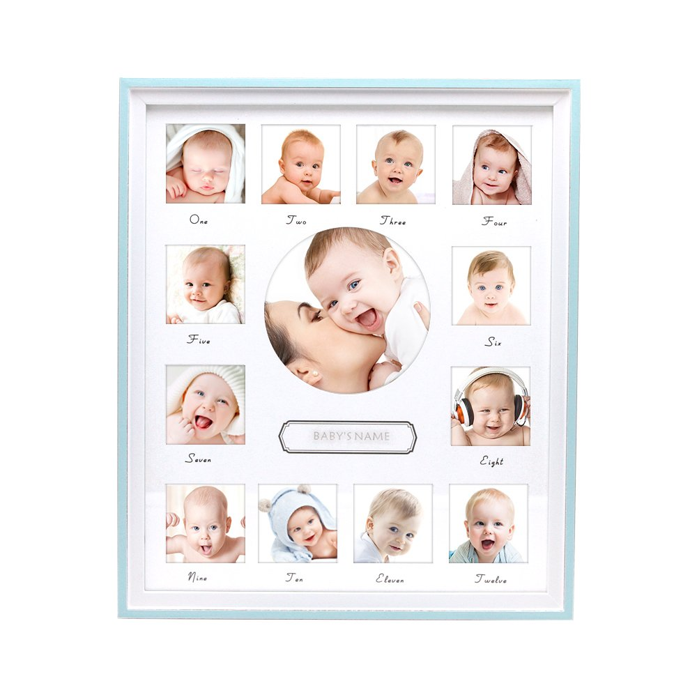 Afuly Baby's First Year Picture Frame Wooden 12 Month Collage Photo Frames Vertical Keepsake Teal Blue