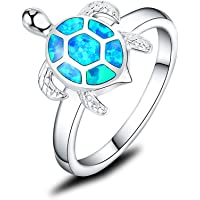 Mozume 925 Sterling Silver Turtle Ring Honu with Created Black Opal Shell Halo Solitaire