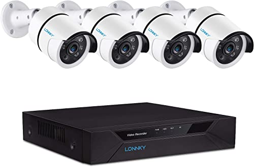 LONNKY 8CH Full HD 1080P Home Security Camera System Outdoor,Surveillance DVR Recorder and 4PCS 2MP 1920TVL Waterproof CCTV Bullet Camera,Easy Remote Access,Free App Email Alerts NO HDD Included