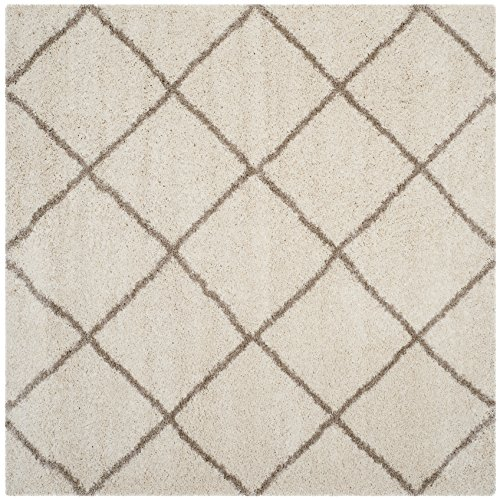 Safavieh SGH281D-7SQ Hudson Shag Collection and Beige Square Area Rug, 7' Square, Ivory