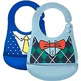 Bavaglini Bavaglino in silicone impermeabile facile da pulire Morbido comodo bavaglini per neonato (Cravatta a farfalla/Vestito di moda)