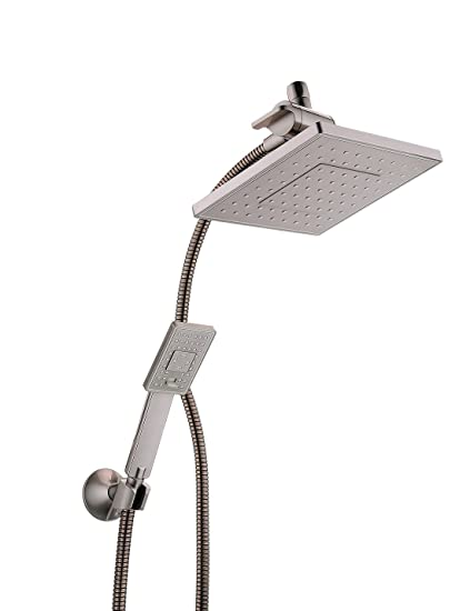 Rain Shower Head With Handheld Spray.Bright Showers Rain Shower Head With Handheld Spray 5 Ft Shower Hose Combo Includes Wall Mount Suction Bracket 3 Way Water Diverter Mount 8 Inch