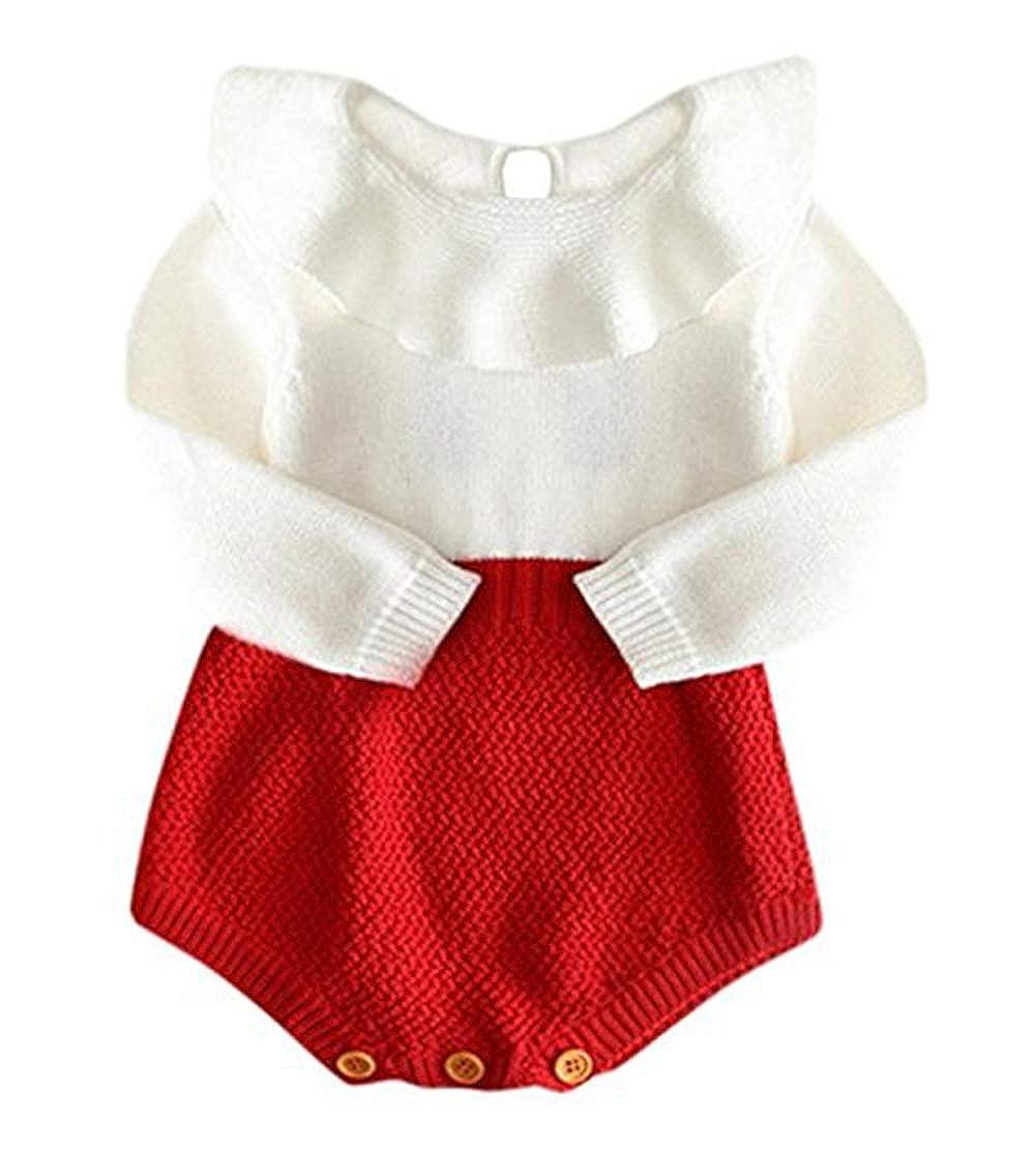 stylesilove Baby Girl Autumn Knitted Ruffle Long Sleeve Princess Jumpsuit Romper