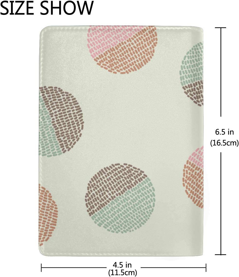 Passport Waterproof Cover Colorful Fabric Circles Stylish Pu Leather Travel Accessories Passports Case For Women Men