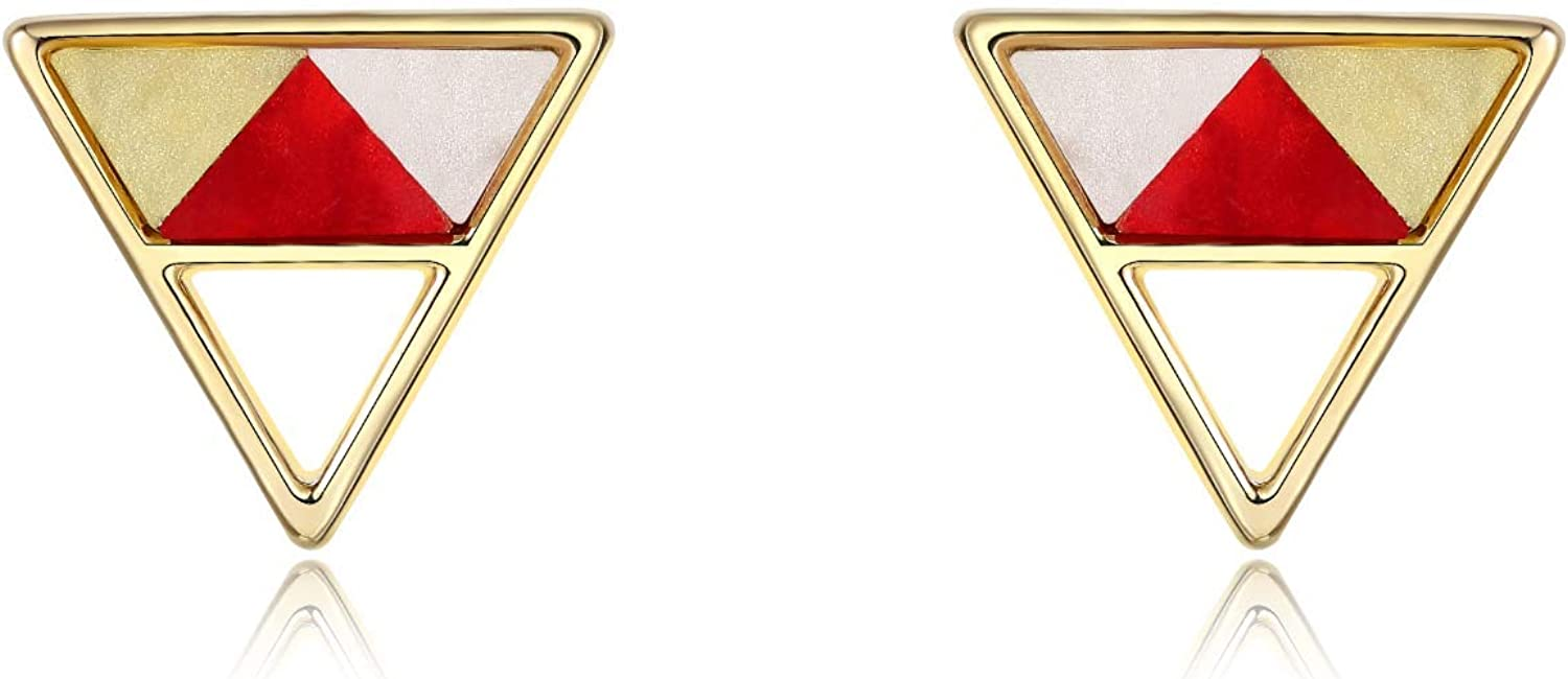 """""""Minimalist Geometric"""" Statement Gold Tone Sterling Silver Square, Triangle Stud Earrings for Women and Men"""