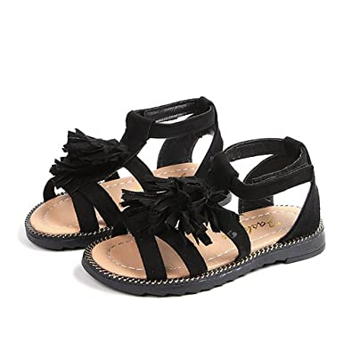 c0ddeb65da8c64 Image Unavailable. Image not available for. Color  CYBLING Girl s Tassels Flat  Sandals Cute ...