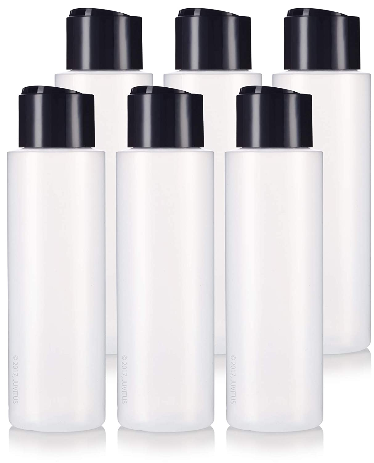 16 oz 500 ml Professional Natural Clear Refillable Plastic Squeeze BPA Free Bottle with Wide Black Disc Cap Lid 6 Pack for Shampoo, Conditioner, Body Wash, Lotion, and More