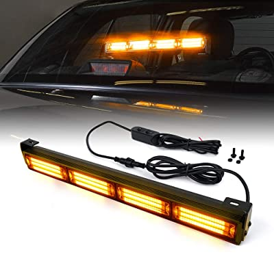 Xprite 18 Inch Amber Yellow COB Traffic Advisor Strobe Light Bar w/ 21 Flash Patterns, Hazard Warning Directional Flashing LED Safety Lights for Emergency Vehicles Trucks Roof Interior Windshield: Automotive