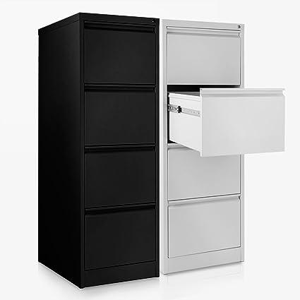 Office Marshal Hängeregisterschrank Mit 4 Schubladen Abschließbarer Aktenschrank Für Hängeregister Im Din A4 Format 132h X405b X62t Cm