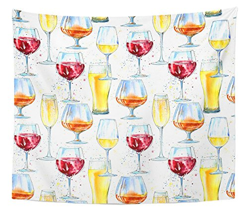 Emvency Tapestry Champagne Cognac Wine Beer and Glass Painting Alcohol Drink and Splash Home Decor Wall Hanging 50