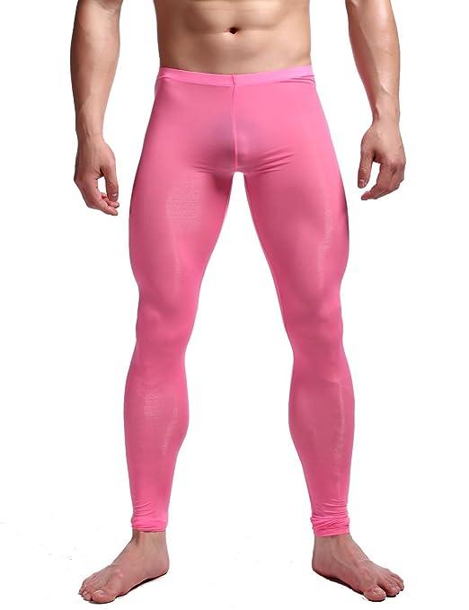 Review K-Men Men Ice Silk Underwear Low Rise Slim Legging Tight Pant Mesh Long Trousers