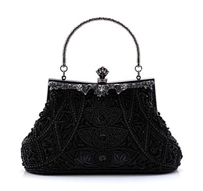 Jopchunm Beaded Sequined Evening Bags Wedding Party Top Handle Satchel Handbags  Clutches Crossbody Purses for Women 4f1eaea89baec