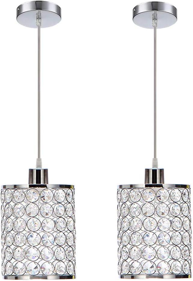 MonDaufie 2-Pack Modern Crystal Pendant Lights,Chrome Finish Hanging Pendant Lighting,Adjustable Pendant Lights for Kitchen Island Bar Bedroom Bathroom