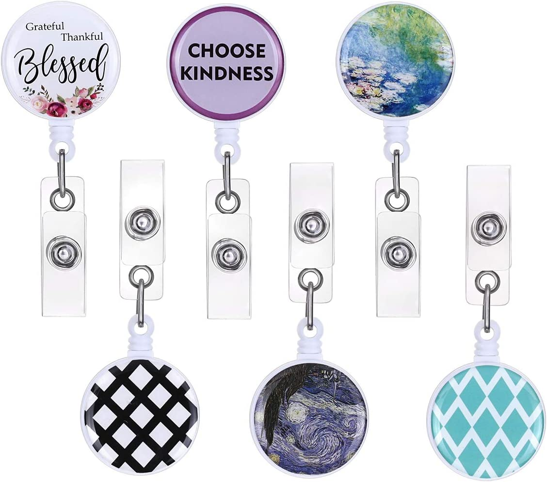 ECOHIP 6-Pack Retractable Badge Holders, ID Card Badge Reels,Cute Name Tag Lanyard, Office Button Badge Clip